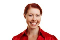 Sorriso alegre novo da mulher Fotografia de Stock