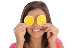 Sorriso arancione della fetta Fotografia Stock