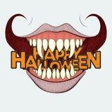 Sorriso arricciato Halloween spaventoso Fotografie Stock Libere da Diritti