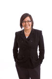 Sorriso asiático da mulher de negócios isolado no branco Imagem de Stock