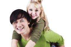 Sorriso asiático-caucasiano romântico dos pares Imagem de Stock