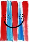Sorriso astratto dipinto a mano dell'acquerello contro lo sfondo del blu verticale a Fotografia Stock Libera da Diritti