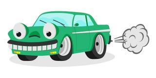 Sorriso automatico dell'automobile divertente del fumetto con l'illustrazione di vettore del fumo per i bambini Fotografia Stock