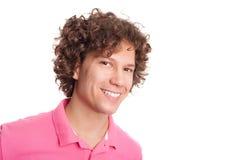 Sorriso bianco del dente dell'uomo riccio fotografie stock
