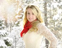 Sorriso bonito da mulher backlit imagem de stock