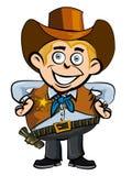 Sorriso bonito do cowboy dos desenhos animados ilustração royalty free