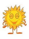 Sorriso bonito do sol e desenhos animados felizes do desenho da ilustração e fundo branco Fotografia de Stock