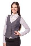 Sorriso bonito novo da mulher de negócios isolado Fotografia de Stock