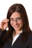 Sorriso com vidros Imagem de Stock Royalty Free