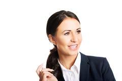 Sorriso confiável da mulher de negócio Fotografia de Stock