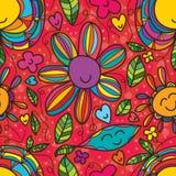 Sorriso da flor que tira o teste padrão sem emenda Imagens de Stock Royalty Free