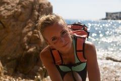 Sorriso da menina da aventura Fotos de Stock