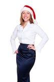 Sorriso da mulher de negócios do Natal Imagem de Stock Royalty Free