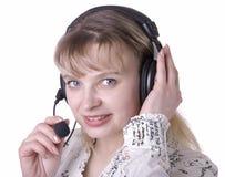 Sorriso da mulher do operador da sustentação do cliente empresa fotos de stock royalty free