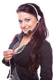 Sorriso da mulher do operador da sustentação do cliente empresa fotografia de stock
