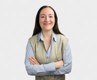 Sorriso da mulher do trabalhador manual imagem de stock royalty free