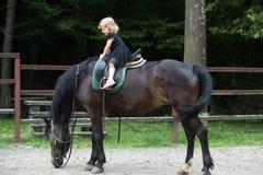 Sorriso del bambino in sella del cavaliere sulla parte posteriore dell'animale fotografia stock libera da diritti