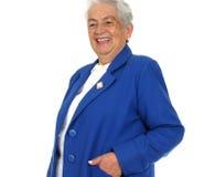 Sorriso del briciolo della donna grande sopra bianco Fotografia Stock