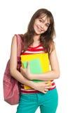 Sorriso dell'adolescente con i libri Immagini Stock Libere da Diritti