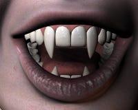 Sorriso della ragazza del vampiro Fotografia Stock