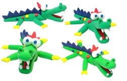 Sorriso di verde del plasticine del coccodrillo felice Fotografie Stock Libere da Diritti