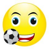 Sorriso divertente con un pallone da calcio Vettore, isolato su fondo bianco Fotografia Stock Libera da Diritti
