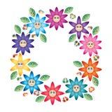 Sorriso do círculo da flor de borboleta da folha dos desenhos animados ilustração do vetor
