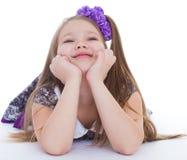 Sorriso dos 6 anos bonitos da menina idosa Imagens de Stock