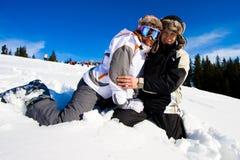 Sorriso dos esquiadores Imagens de Stock Royalty Free