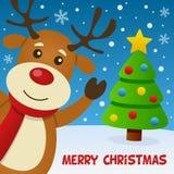 Sorriso e cartão da rena Imagem de Stock Royalty Free