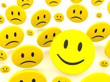 Sorriso e tristeza Imagem de Stock