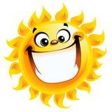 Sorriso entusiasmado do caráter do sol extremamente feliz do amarelo dos desenhos animados Fotos de Stock