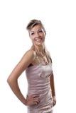 Sorriso felice della giovane donna isolato Fotografia Stock