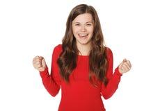 Sorriso felice sorpreso grazioso della donna Immagini Stock Libere da Diritti