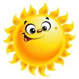 Sorriso feliz do caráter do sol do amarelo dos desenhos animados Foto de Stock Royalty Free