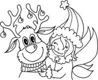 Sorriso feliz do conto do Natal do ano novo dos cervos da menina do amigo imagens de stock royalty free
