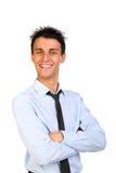 Sorriso feliz do homem de negócio fotografia de stock royalty free