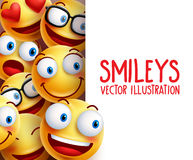 Sorriso feliz dos caráteres engraçados do vetor da cara do smiley no fundo Imagens de Stock Royalty Free