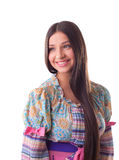 Sorriso grazioso della ragazza - costume russo tradizionale Fotografia Stock
