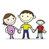 Sorriso incinto del padre e madre con stile del fumetto del figlio isolato Fotografie Stock Libere da Diritti