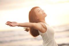 Sorriso libero e donna felice Immagini Stock Libere da Diritti