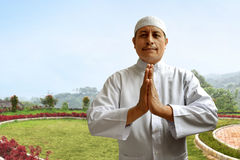 Sorriso muçulmano velho do homem Imagens de Stock Royalty Free