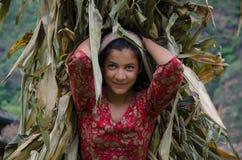 Sorriso nepalese Fotografie Stock