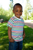 Sorriso pequeno bonito do bebé do americano africano Fotografia de Stock Royalty Free