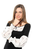 Sorriso positivo da mulher de negócio imagem de stock royalty free