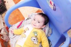 Sorriso recém-nascido da menina Fotografia de Stock