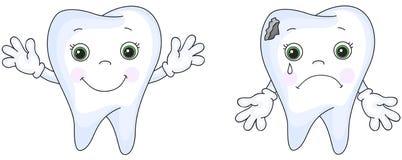 Sorriso saudável do dente Grito doente do dente O dente doente tem a cárie ilustração do vetor
