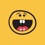 Sorriso semplice con l'icona di vettore della lingua Ill disegnato a mano di scarabocchio del fronte Immagine Stock