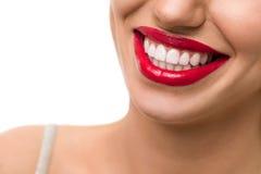 Sorriso splendido con le labbra rosse Fotografia Stock Libera da Diritti