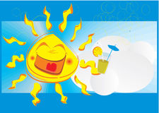 Sorriso Sun feliz ilustração do vetor